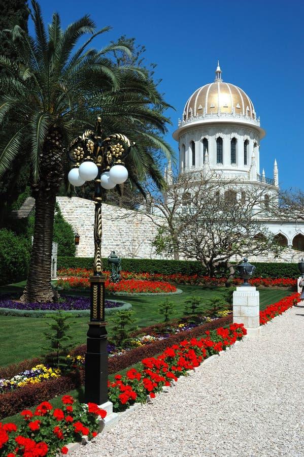 bahai从事园艺海法以色列运输路线寺庙 免版税图库摄影