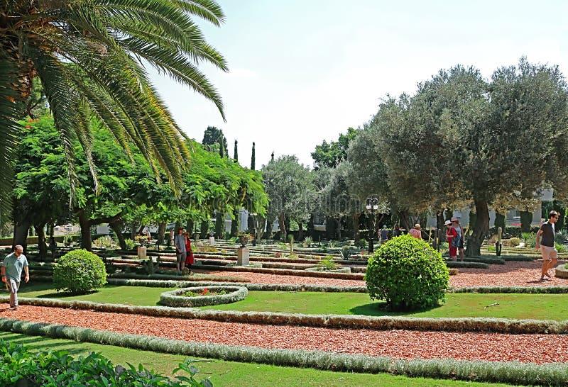 Bahai庭院在英亩Akko,海法,以色列,亚洲 免版税库存照片