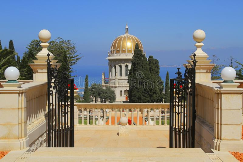 Shrine of the Bab in Haifa. Bahai Garden in Haifa, the greatest center of this religion in the world royalty free stock photos
