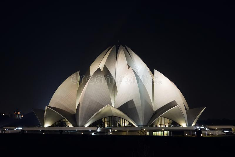 Bahai lotus temple at night in delhi, india royalty free stock images