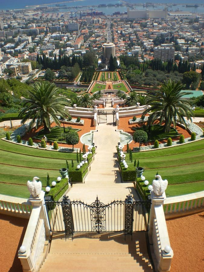 bahai ogródów Haifa Israel port obraz royalty free