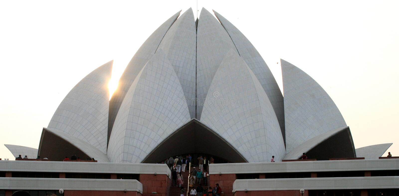 Bahai Temple. Lotus like structured Bahai Temple in Delhi stock photo