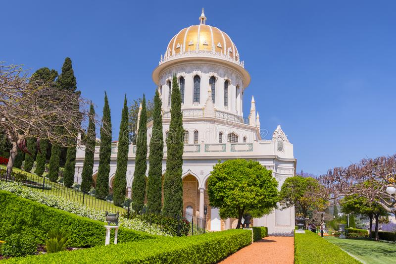 The Bahai temple and the Bahai gardens in Haifa, Israel.  royalty free stock images