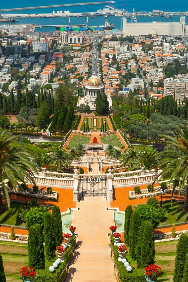 Bahai trädgårdar och tempel royaltyfria foton