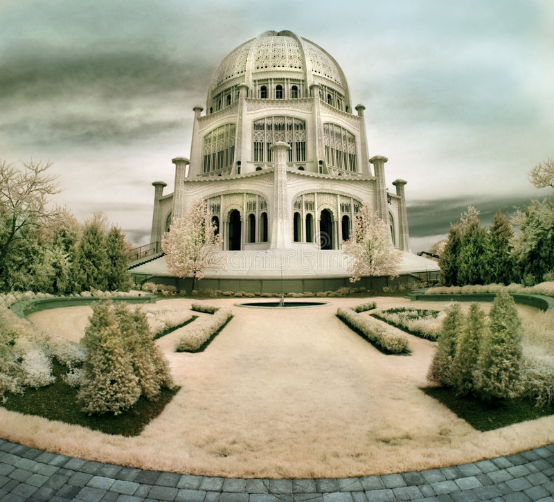 bahaiillinois tempel royaltyfria bilder