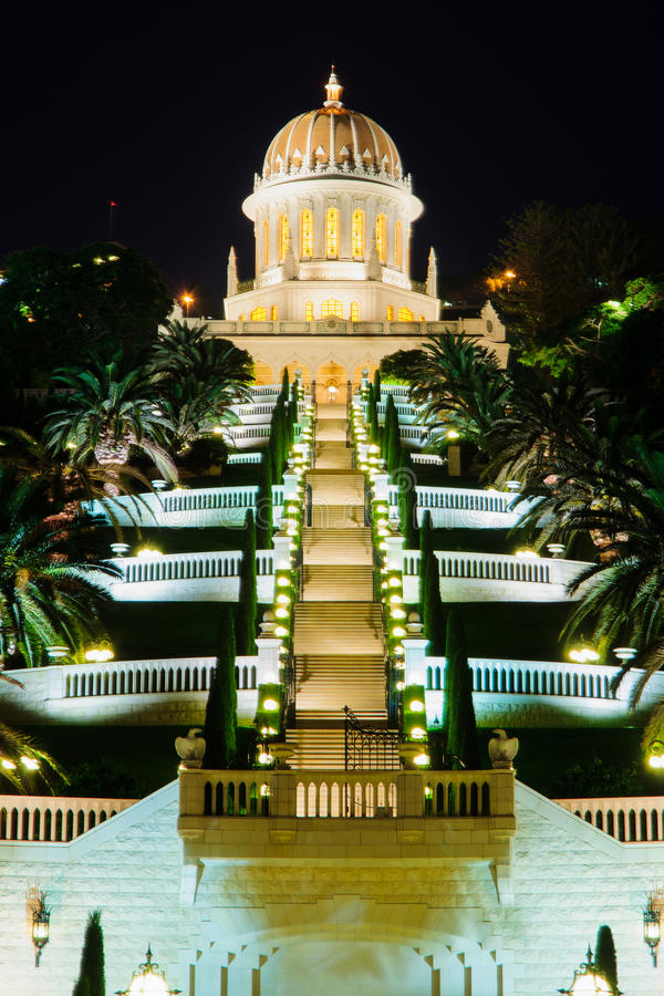 Bahaituinen bij nacht, Haifa royalty-vrije stock foto