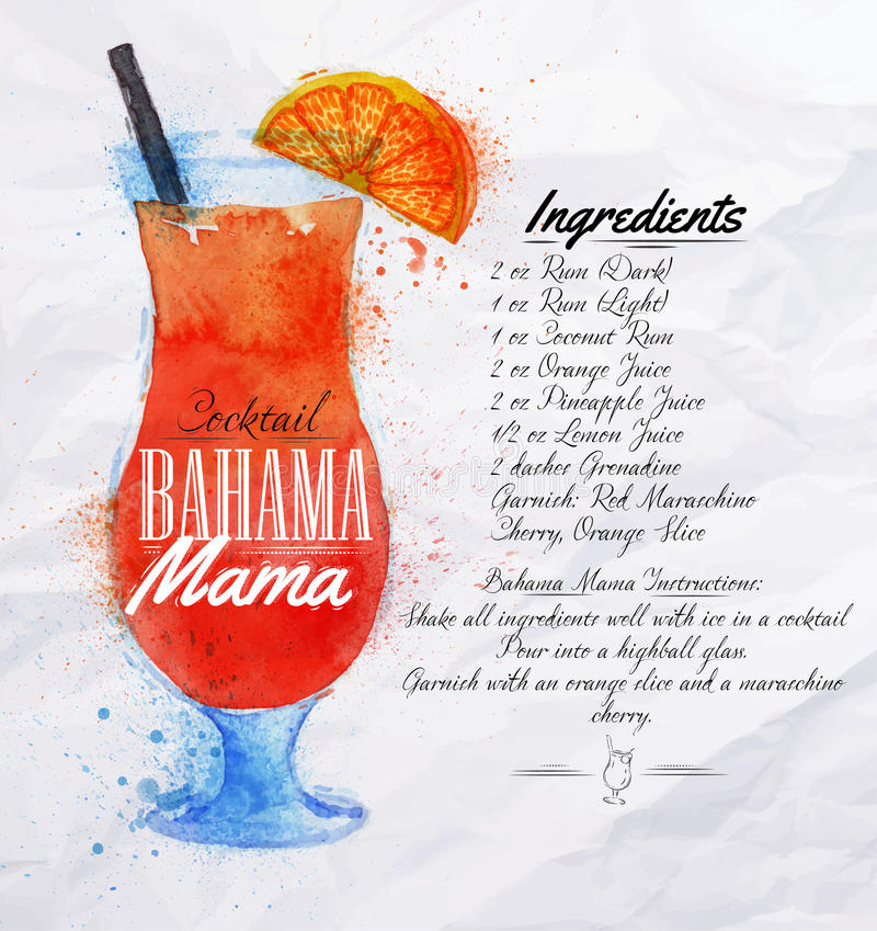 Bahama mama cocktails watercolor. Bahama mama cocktails drawn watercolor blots and stains with a spray, including recipes and ingredients on the background of stock illustration