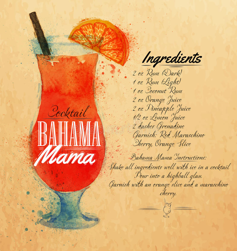 Bahama mama cocktails watercolor kraft. Bahama mama cocktails drawn watercolor blots and stains with a spray, including recipes and ingredients on the background stock illustration