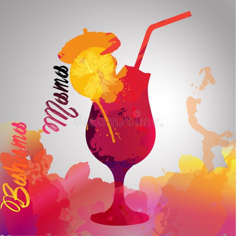 Bahama mamma med färgfärgstänk stock illustrationer