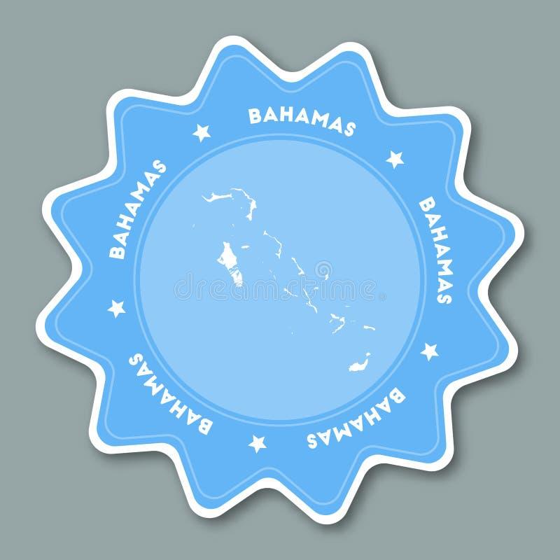 Bahamas översiktsklistermärke i moderiktiga färger vektor illustrationer