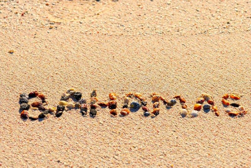 Bahamas auf dem Sand lizenzfreie stockbilder