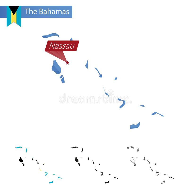 The Bahamas blue Low Poly map with capital Nassau. Versions with flag, black and outline. Vector Illustration royalty free illustration
