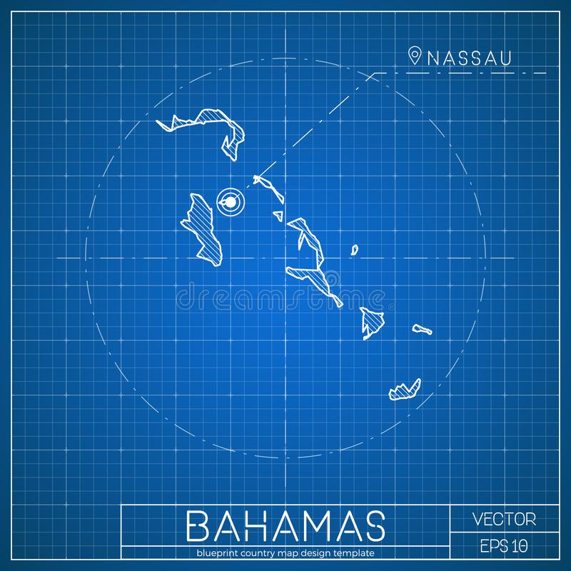 Bahamas blueprint map template with capital city. Nassau marked on blueprint Bahamian map. Vector illustration vector illustration