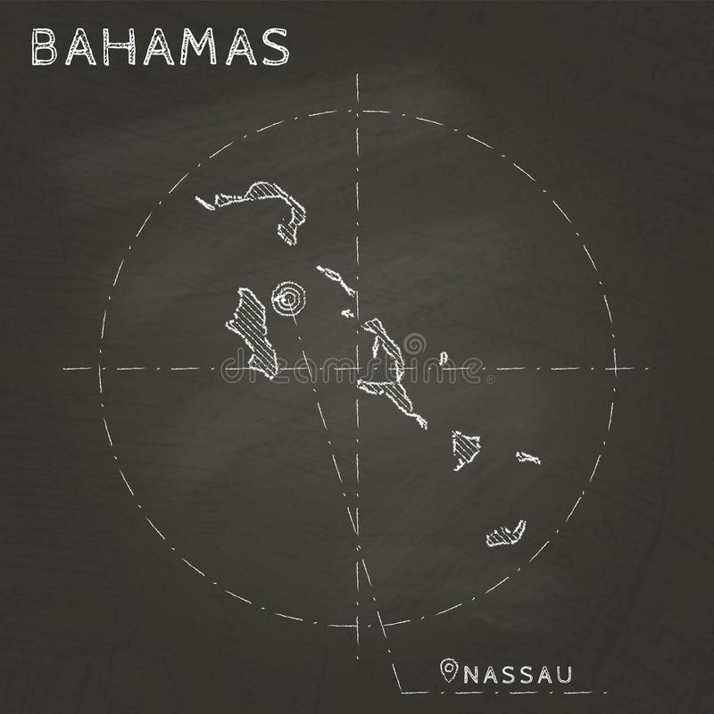 Bahamas chalk map with capital marked hand drawn. Bahamas chalk map with capital marked hand drawn on textured school blackboard. Chalk Bahamas outline with royalty free illustration