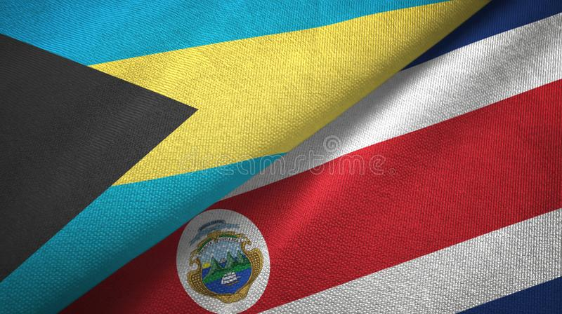 Bahamas and Costa Rica two flags textile cloth, fabric texture. Bahamas and Costa Rica flags together textile cloth, fabric texture stock illustration