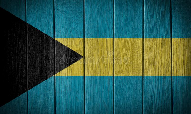 The Bahamas flag. Painted on a wood plank texture stock photography