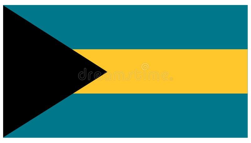 Bahamas flagga - baner, Central America, land stock illustrationer