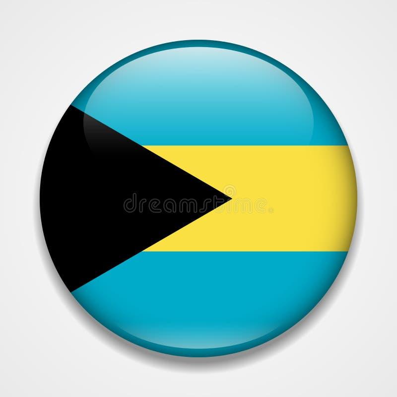 bahamas flagga Runt glansigt emblem royaltyfri illustrationer