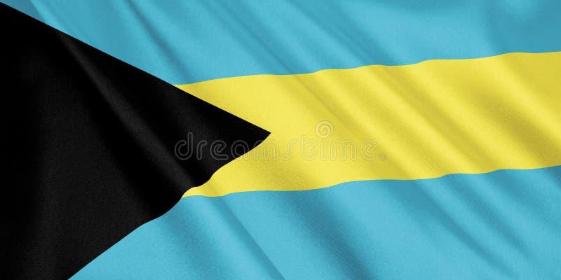 Bahamas flagga som vinkar med vinden royaltyfri illustrationer