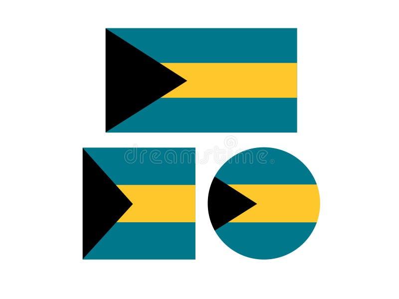 Bahamas flaggor - Commonwealth of the Bahamas vektor illustrationer