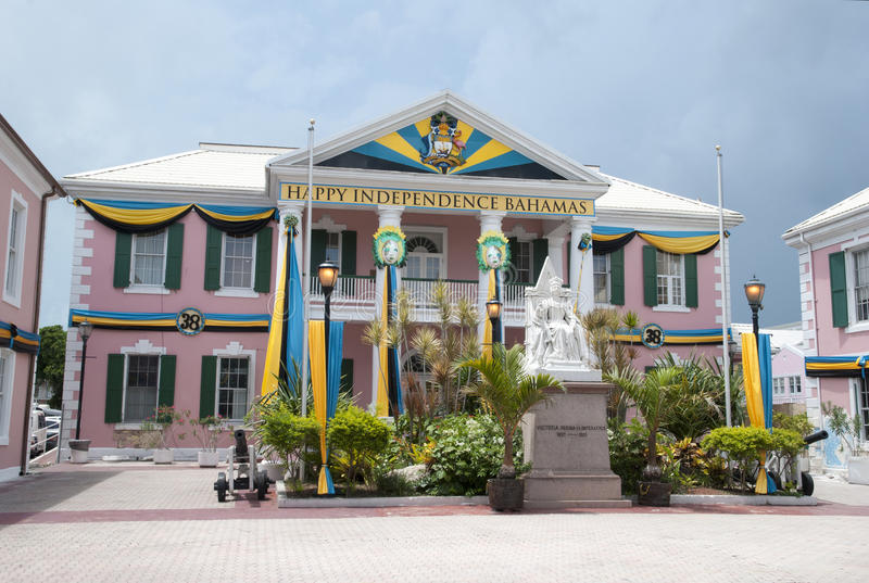 Bahamas Independence Day. Nassau city Parliament Square decorated in flags to celebrate Independence Day of The Bahamas stock photography