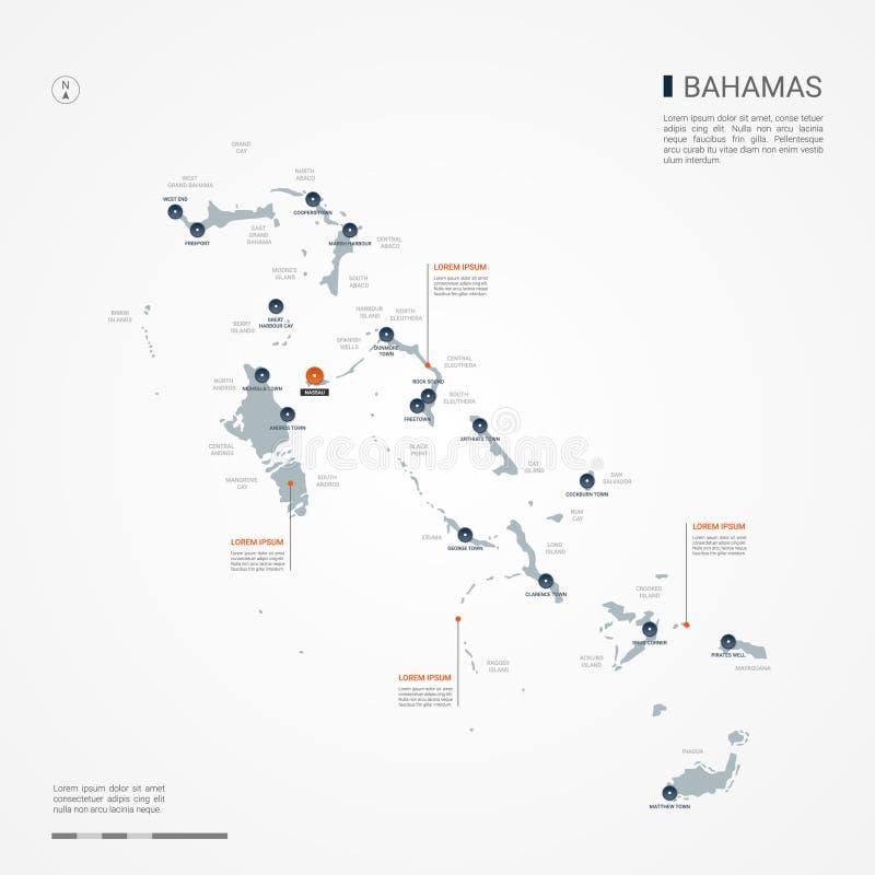 Bahamas infographic map vector illustration. stock illustration