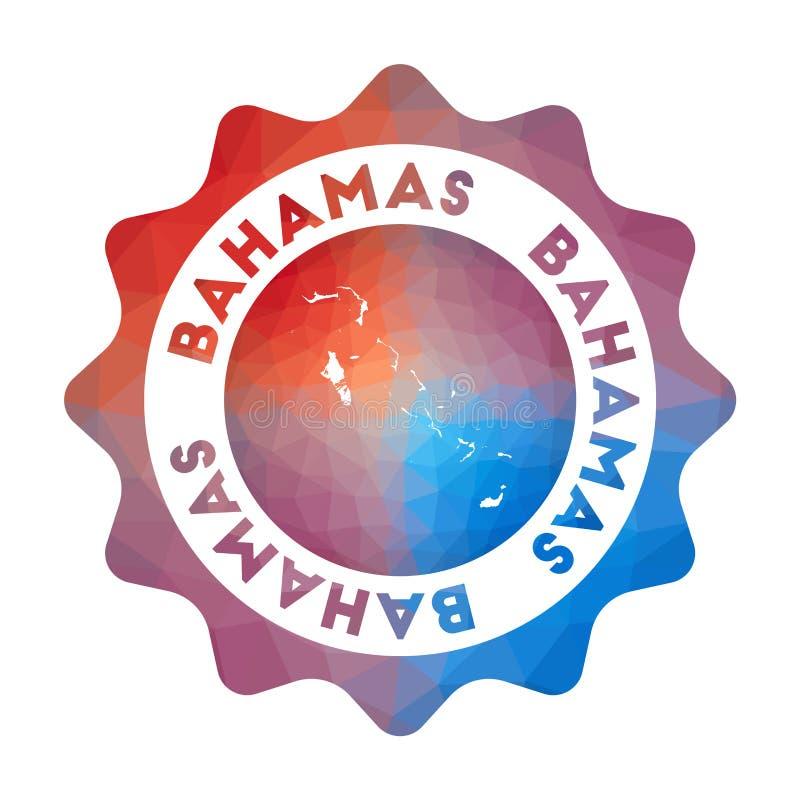 Bahamas låg poly logo royaltyfri illustrationer