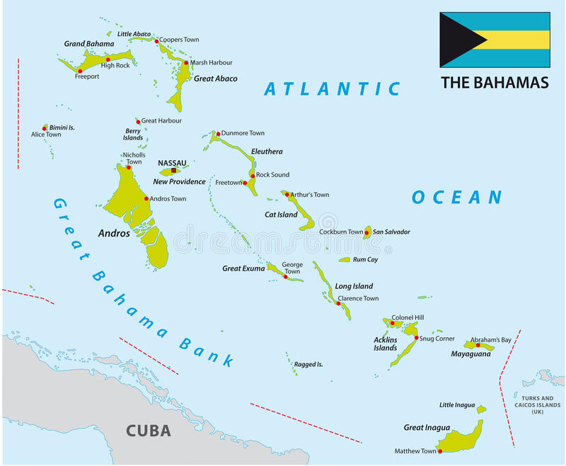 Bahamas map with flag stock illustration Illustration of nassau