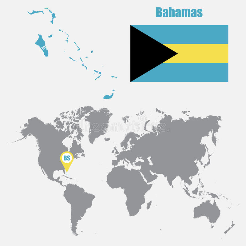 Bahamas Map On A World Map With Flag And Map Pointer Vector
