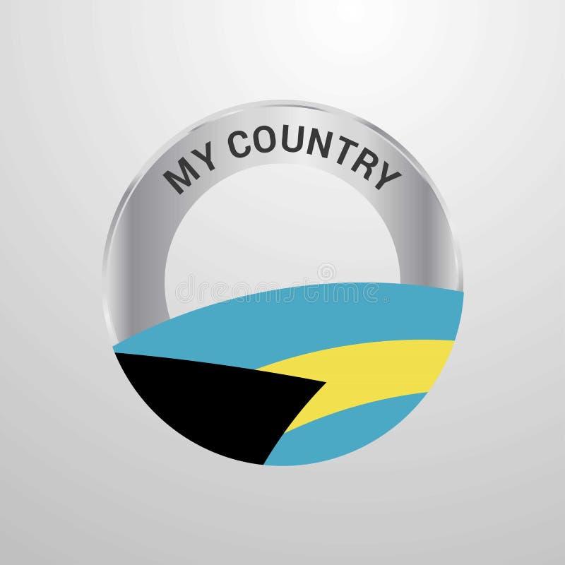 Bahamas mitt emblem för landsflagga stock illustrationer