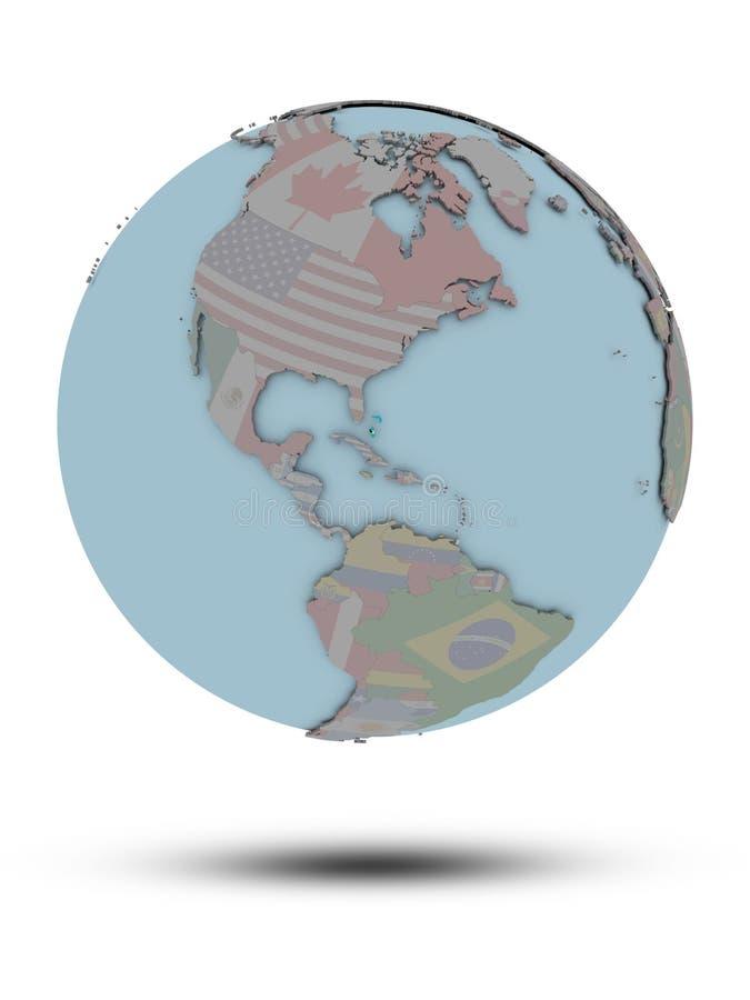 Bahamas na politycznej kuli ziemskiej odizolowywającej royalty ilustracja