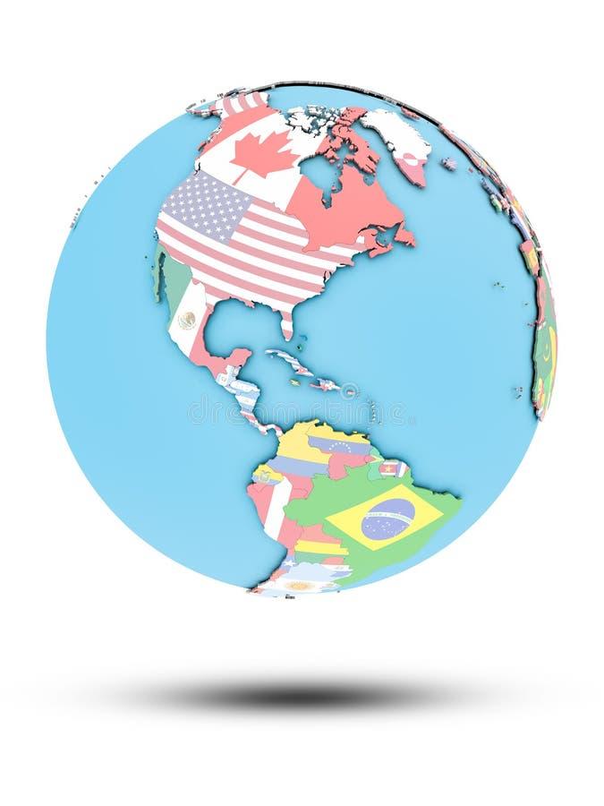 Bahamas na politycznej kuli ziemskiej z flaga ilustracji