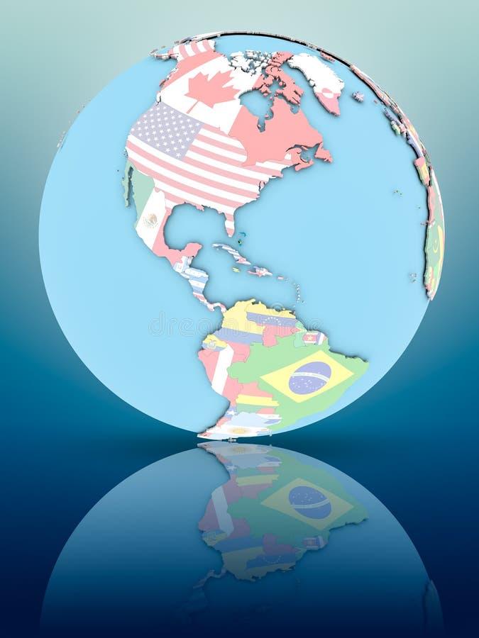 Bahamas na politycznej kuli ziemskiej z flaga royalty ilustracja