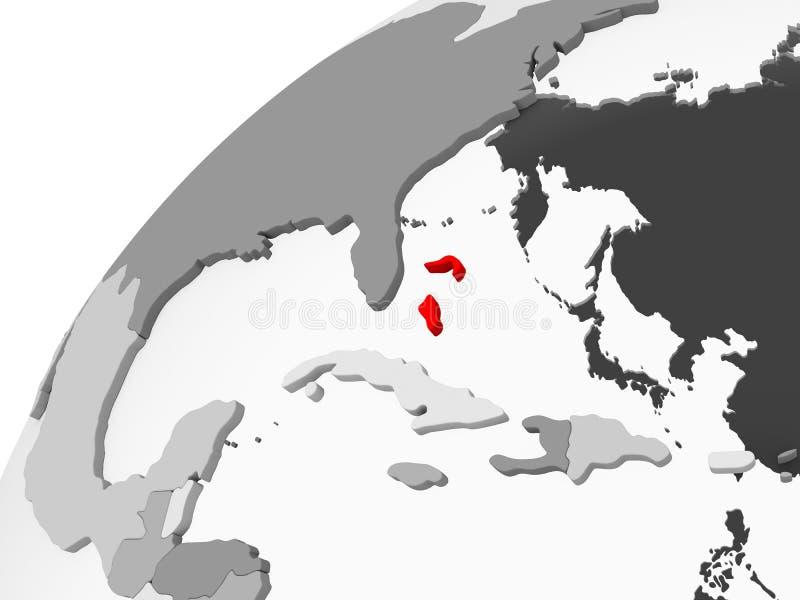 Bahamas na popielatej politycznej kuli ziemskiej royalty ilustracja