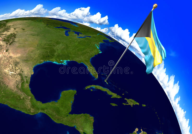 Bahamas national flag marking the country location on world map download bahamas national flag marking the country location on world map stock illustration illustration of gumiabroncs Gallery