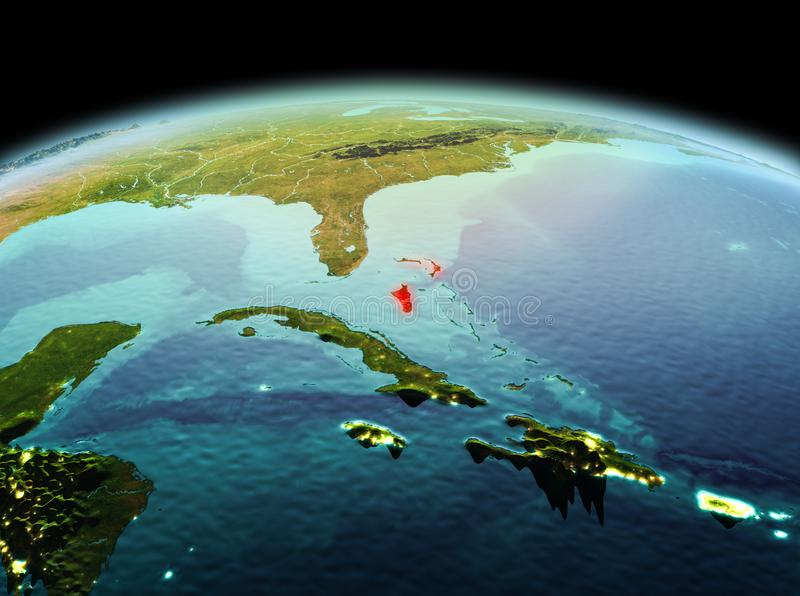 Bahamas on planet Earth in space. Morning above Bahamas highlighted in red on model of planet Earth in space. 3D illustration. Elements of this image furnished royalty free stock image