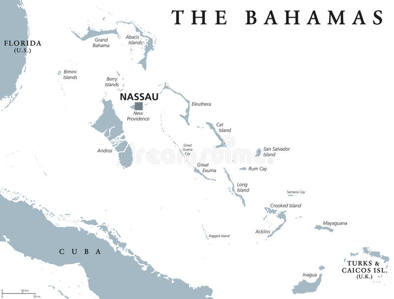 The Bahamas political map. With capital Nassau. Commonwealth and archipelagic state within the Lucayan Archipelago in the Atlantic Ocean. Gray illustration on royalty free illustration