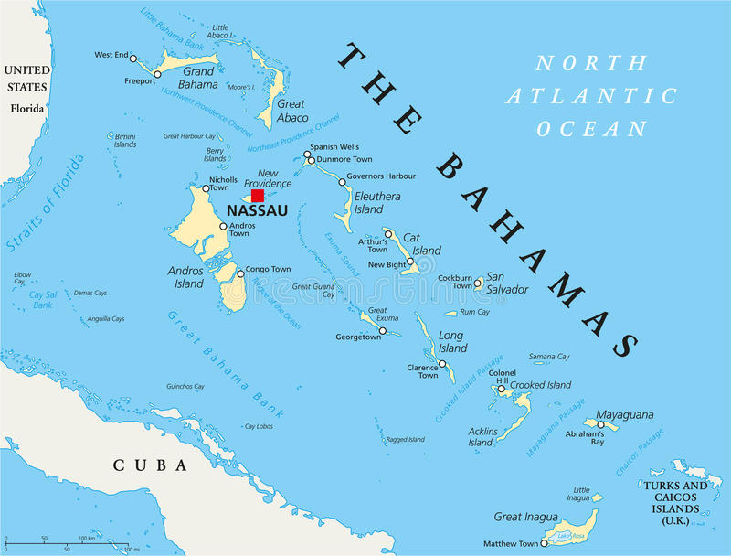 The Bahamas Political Map. With capital Nassau, important cities and places. English labeling and scaling. Illustration vector illustration