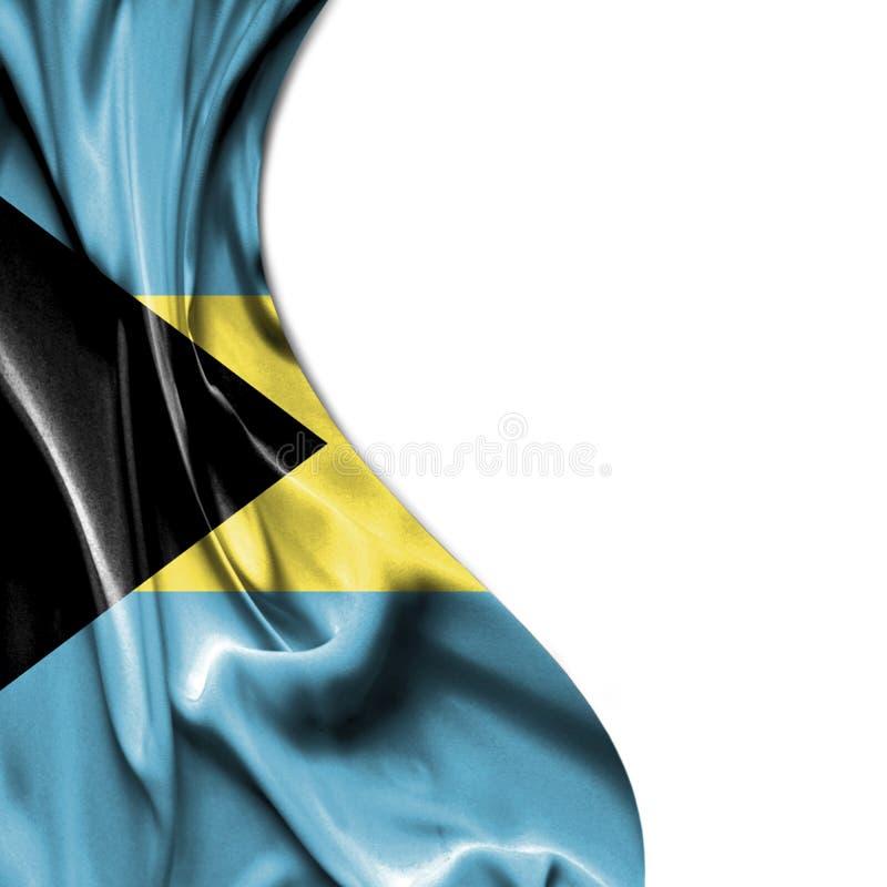 Bahamas que acena a bandeira do cetim isolada no fundo branco ilustração stock