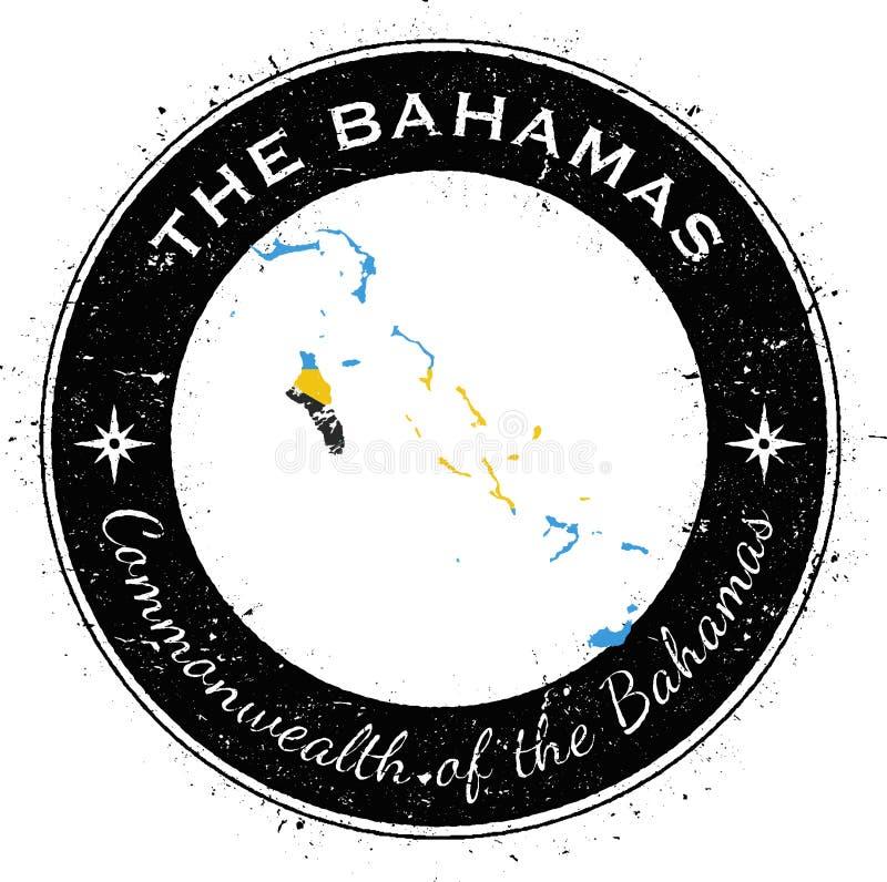 Bahamas runt patriotiskt emblem vektor illustrationer