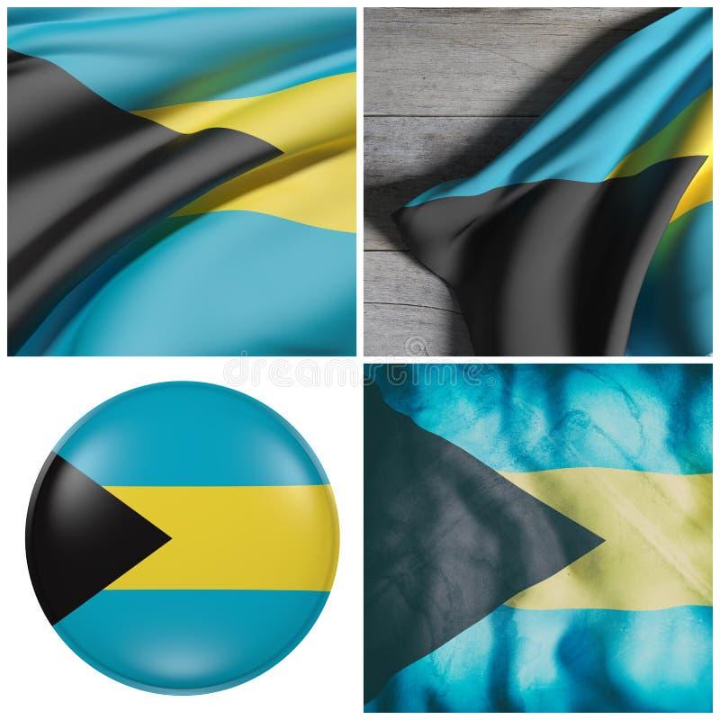 Bahamas señalan agitar por medio de una bandera stock de ilustración