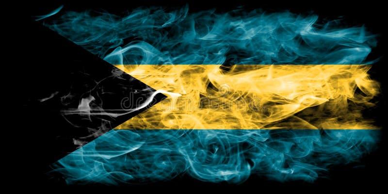 Bahamas smoke flag on a black background.  royalty free stock photo