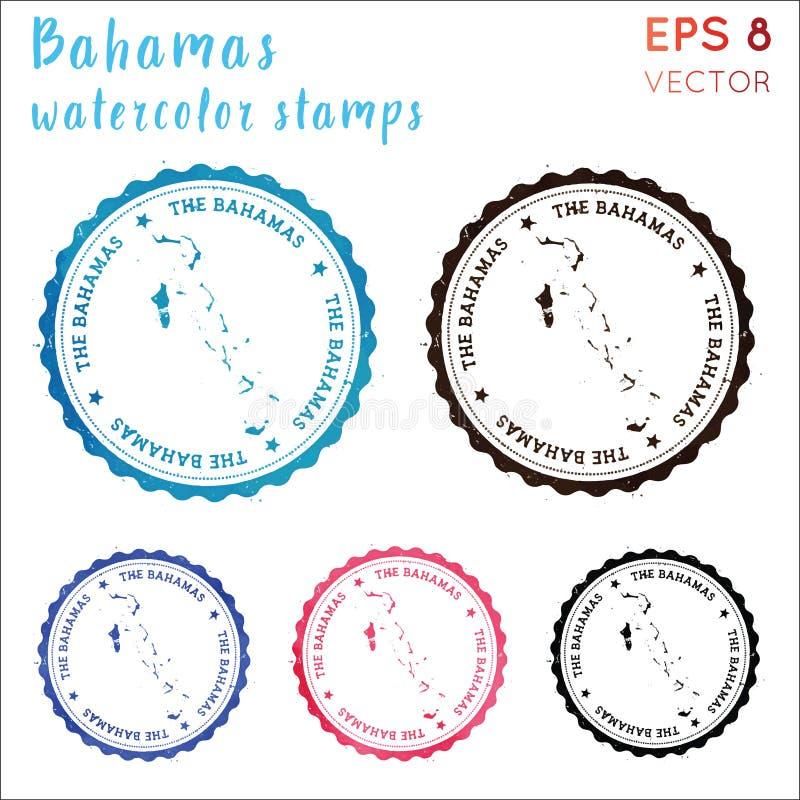 Bahamas stämpel vektor illustrationer