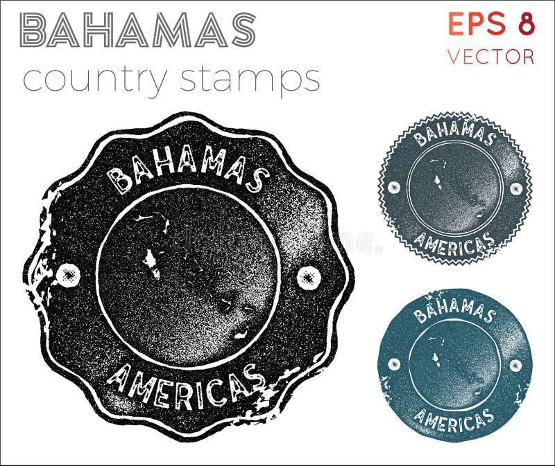 Bahamas stämpelsamling stock illustrationer