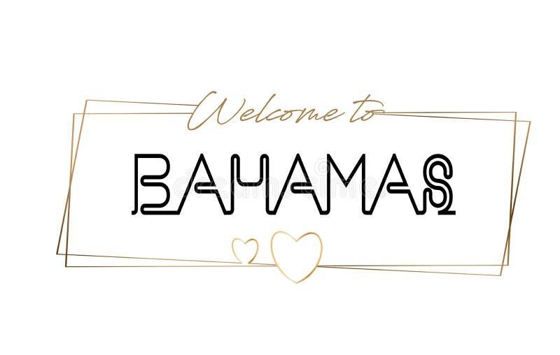 Bahamas välkomnande som smsar neon som märker typografi Ord för logotypen, emblem, symbol, vykort, logo, banervektorillustration vektor illustrationer