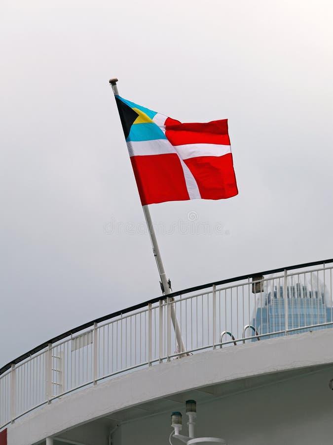 Bahamas Civil Ensign. Bahamian Civil Ensign Flag at Cruiser Ship stock photography
