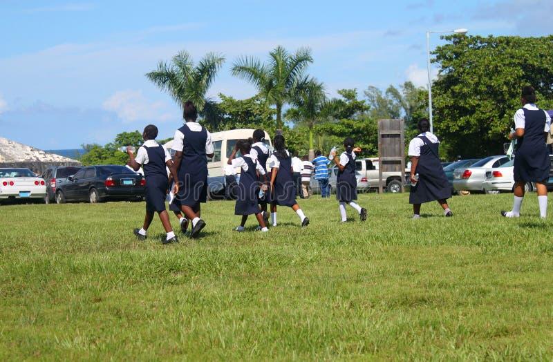 Bahamian students in uniform royalty free stock photos