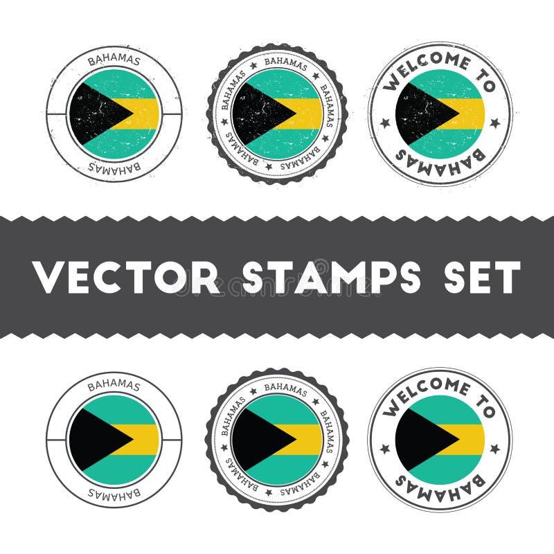 Bahamische Flaggenstempel eingestellt lizenzfreie abbildung