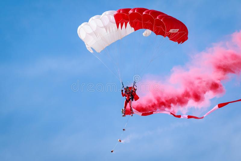 Baharin Defence Special Forces Parachute Display Team in Bahrain International Airshow, Sakhir, Manama, Kingdom of Bahrain.  royalty free stock image