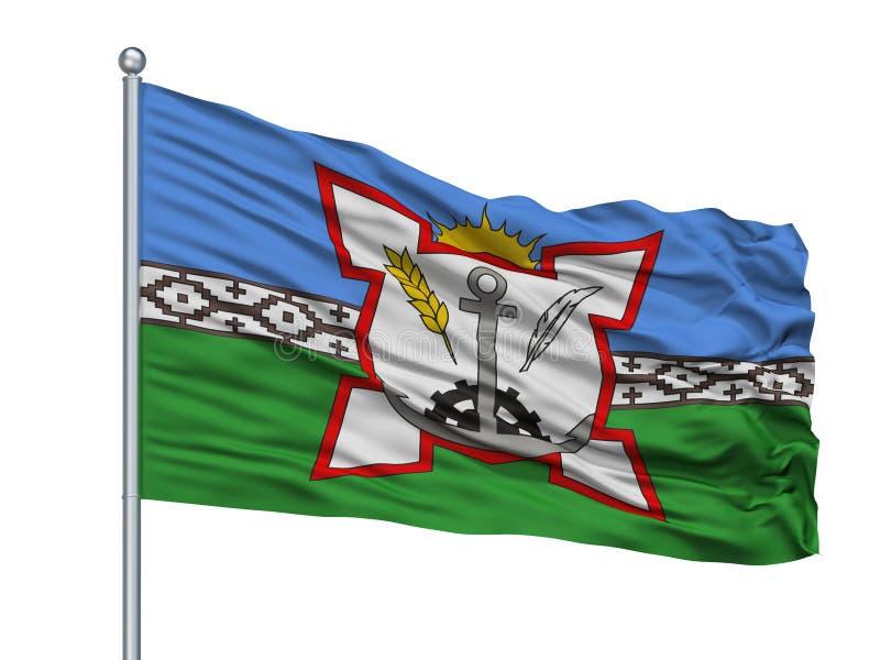 Bahia Blanca City Flag On Flagpole, Argentina, isolata su fondo bianco illustrazione di stock
